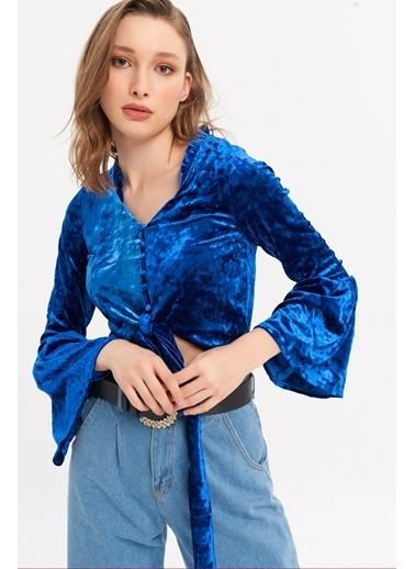 ESQ Kadife Bağlamalı Krok Bluz Mavi